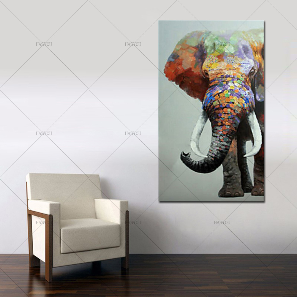 pop art elephant handpainted Oil Painting modern Animal Handmade Picture on Canvas for living room Home Decor as chritmas gift african elephant
