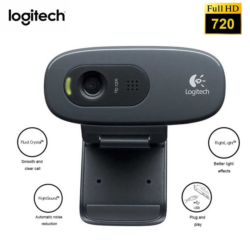 Logitech C270 Hd Camera Network Video Conference Wide Angle Vid 720p Webcam With Built In Micphone Usb 2 0 Interface Laptop Pc Aliexpress