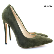 Aiyoway Elegant Women Ladies Pointed Toe High Heel Pumps Faux Suede Party Office Dress Shoes Army Green Slip On US Size 5-15 prova perfetto elegant office lady shoes faux suede women pumps pointed toe thin high heel dress shoes basic pumps zapatos mujer