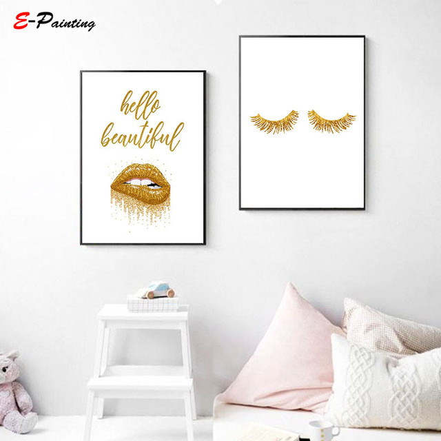 8e897e6cc87 Modern Canvas Painting Picture Gold Dripping Glitter Lips Golden Make Up  Wall Art Fashion Poster Gift