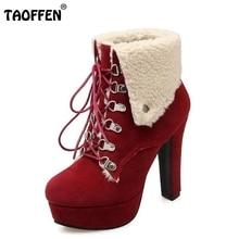 Mulheres Plataforma de Calcanhar Grosso Ankle Boots Moda Mulher Dedo Do Pé Redondo rendas Até Sapatos de Salto Mulher Pele Quente Botas Feminina Tamanho 34-43