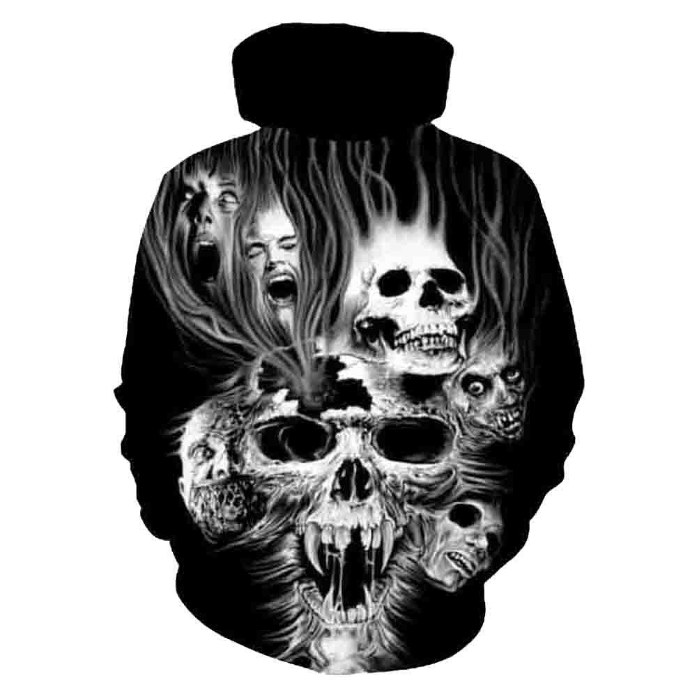 Realistic hoodies sweatshirt tops pullovers blouse in Black Plus Size Unisex 3D Printed skull long-sleeved pullovers hoodies