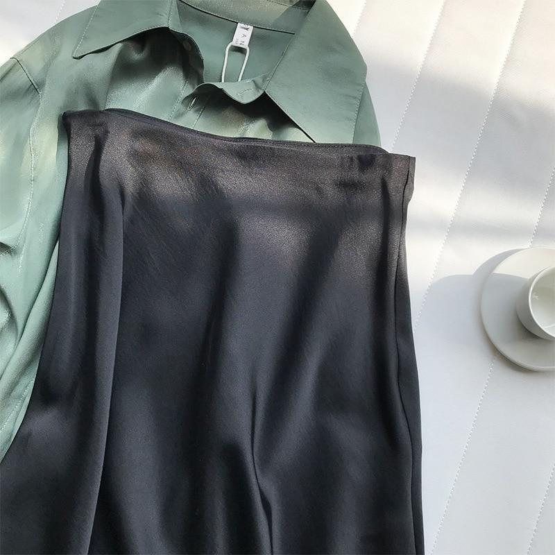 19 Spring Simmer Women High Waist Satin Skirt Metallic Color Long Skirt Shiny Silk Imitation Midi Skirt 25