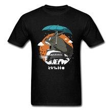 My Neighbor Totoro Rainy Day Crazy Tshirts Spirited Away Miyazaki Ghibli Japanese Comic T Shirt 100% Cotton Men Tops Shirts