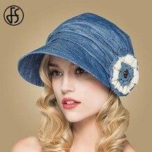 FS chapeaux dété en coton pour femmes, chapeau de plage à fleurs Beige bleu à large bord, bretelles ajustables