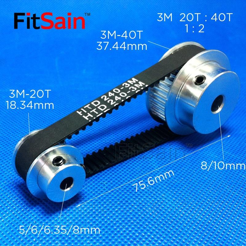 FitSain-3M Pulley Synchronous Wheel 20T: 40T 1:2 Deceleration Timing Belt Bandwidth 10 Holes 5/6/6.35/8