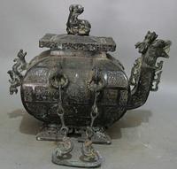 "Canção voge gem S2304 14 ""China Antiga dinastia Bronze Dragão Besta alça bule Tea Wine Pot Flagon|pot clip|pot metal|pot cakes -"