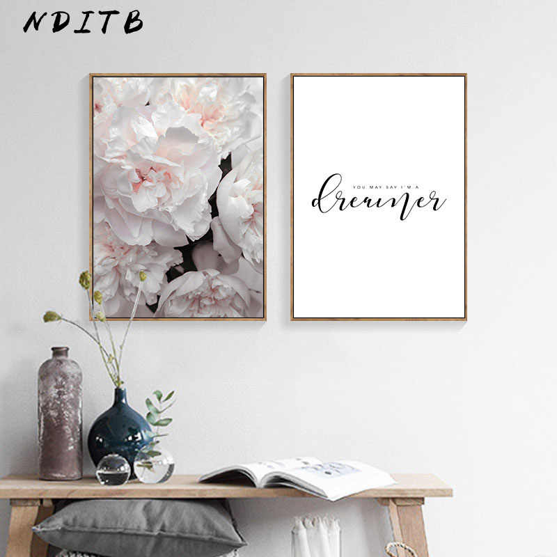 Flower Motivational Quotes Wall Art Canvas Poster Nordic Floral Print Painting Modern Wall Pictures for Living Room Decoration