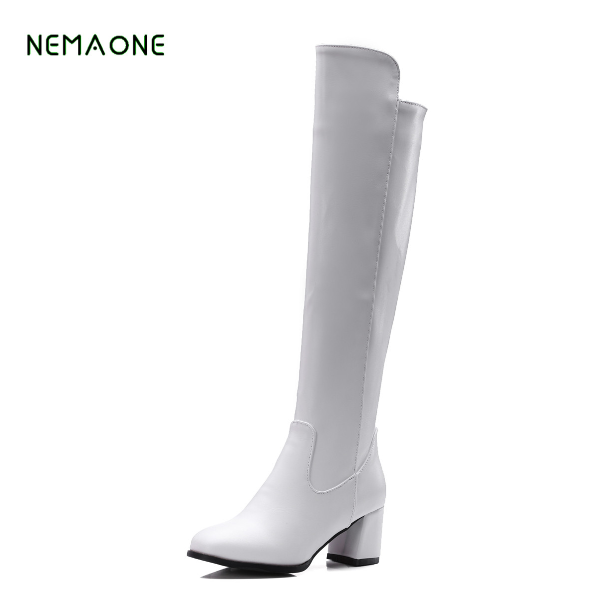 women winter boots stretch fabric fashion high heels women s boots elegant over the knee long boots winter boots NEMAONE Winter Women Boots Stretch Fabric Over the Knee Boots Square heel Thigh High Boots Ladies Long Boots