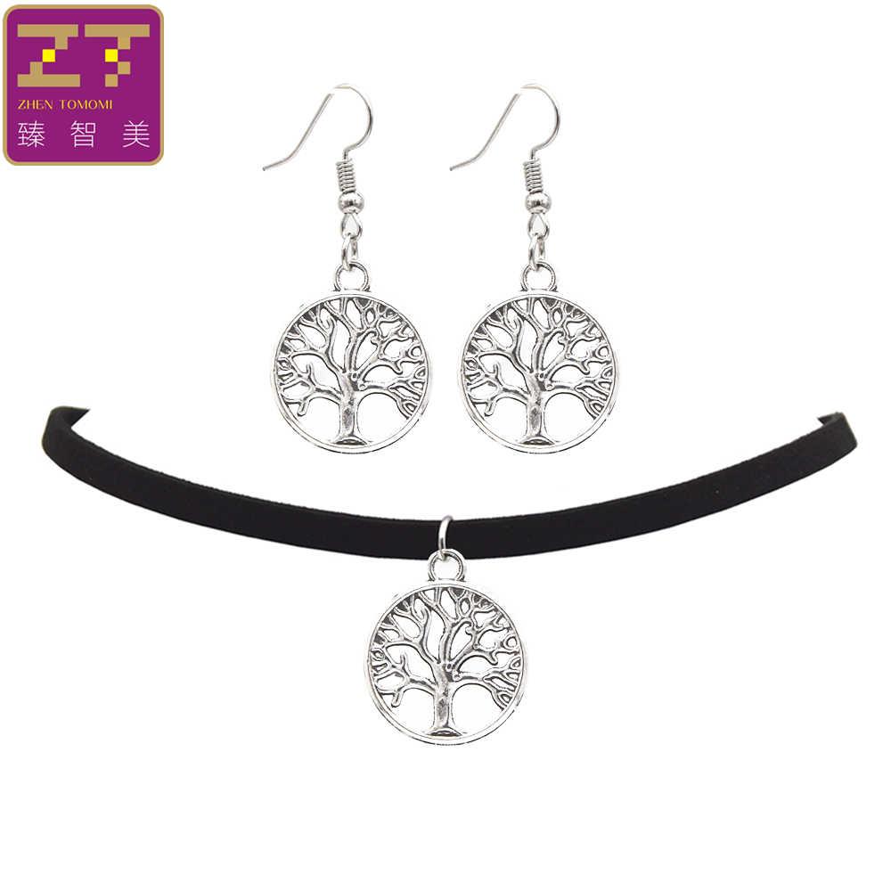 2019 Fashion Black Velvet Leather Bijoux Vintage Retro Tree of Life Pendants Choker Necklace/Drop Earrings Women Jewelry Sets