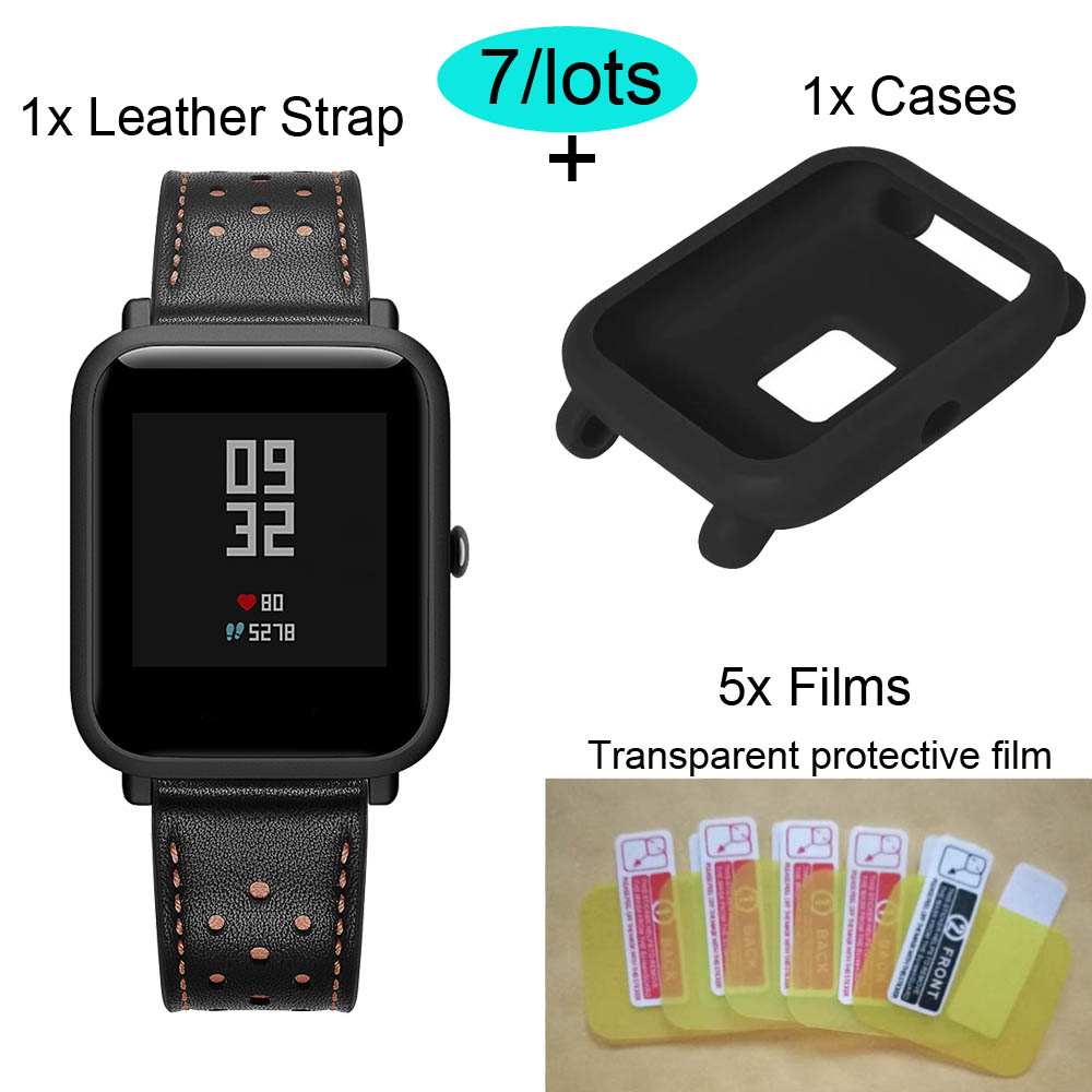 For Xiaomi Amazfit Bip Bracelet Strap Leather Watchband Protector Case Screen Film 7Pcs