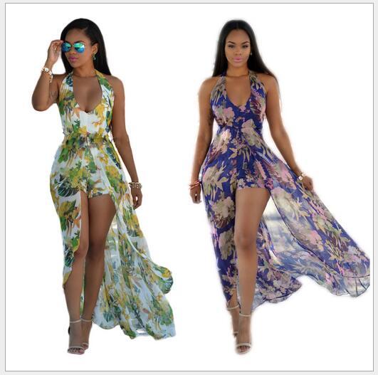 Robe d'été 2016 Polyester Lanon PVC femmes vêtements sans manches évider licou Sexy Maxi robe imprimée C30