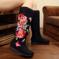 2016 Embroidery Boots Autumn New High Old Beijing Canvas Butterfly Peony Embroidered Women Canvas Cloth Single Boots