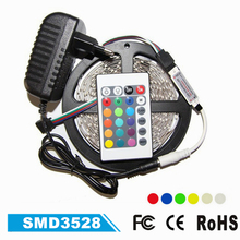 SMD3528 RGB Flexible Strip Light Non-waterproof 5M 300Led Tape Lighting With IR Remote Controller and 2A Power Adapter LED Tape