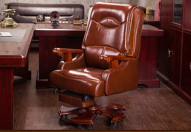 Real leather computer chair. Massage chair can lie home office chair. Real wood swivel chair28