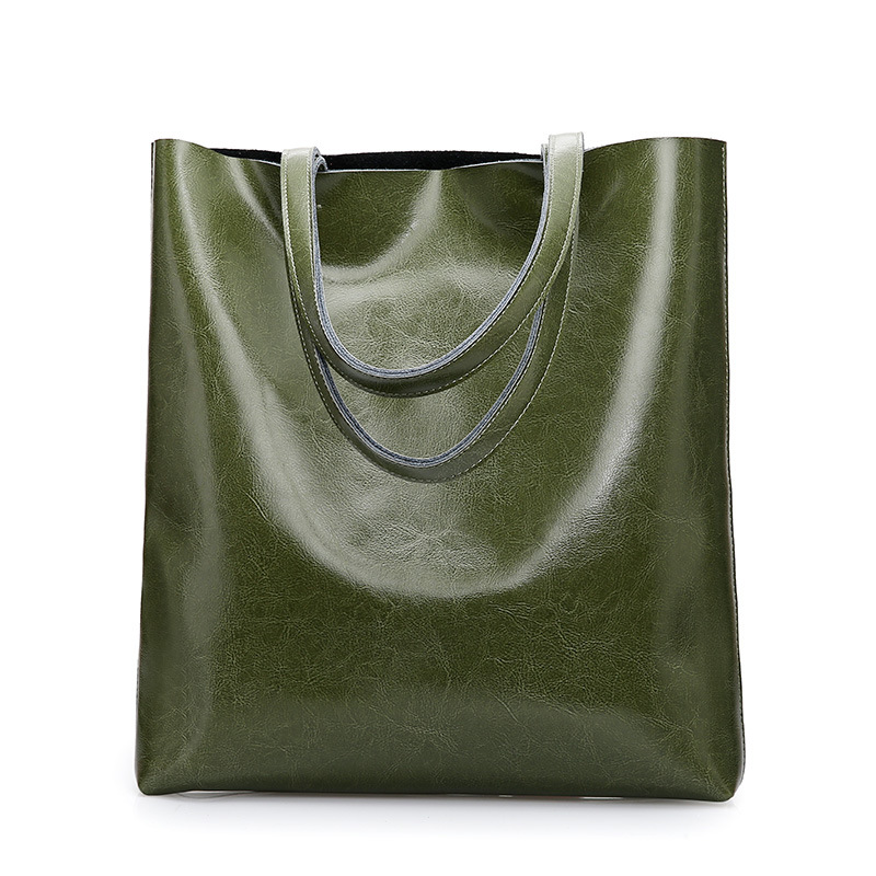 Cowhide Women's Bag Fashion Designer Lady Tote Bags Female Large Capacity Shopping Handbag Oil-Wax Calfskin Shoulder Bag