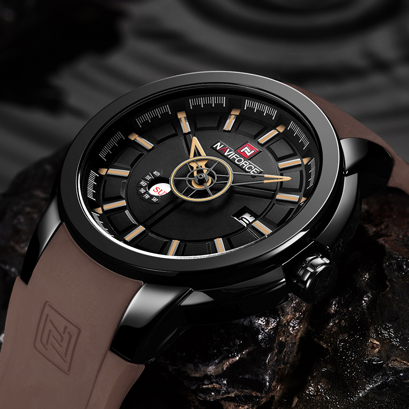 NAVIFORCE Top Brand Watches Men's Quartz Wach Men Waterproof Sports Waches Rubber Strap Wristwatches Relogio Masculino new listing bellmers brand high grade watches leather strap men waterproof quartz watch relogio masculino sports wristwatches
