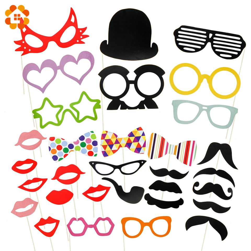 31PCS/Set Funny Mustache Red Lips Photo Booth Props Wedding Party Decoration Photobooth Wedding Bridal Shower Event Supplies