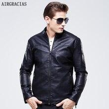 Airgracias плотным ворсом Мужская 100% Босоножки из искусственной PU кожи черный, красный кофе повседневная одежда кожаные мотоциклетные замшевые куртки мужской 3XL