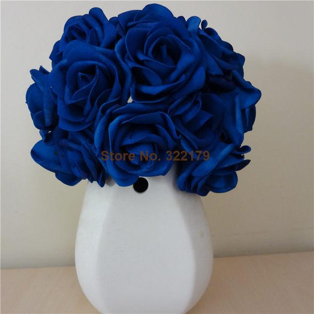 100x Artificial Flowers Royal Blue Roses For Bridal Bouquet Wedding Decor Arrangement Centerpiece Whole Lots