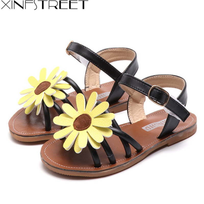 2018 Brand Flower Baby Girls Sandals Summer Kids Breach Shoes Soft Antislip Toddler Childrens Sandal Size 21-35