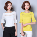 New Women Summer Casual Basic Lace Chiffon Blouse Fashion Elegant Hollow out Patchwork Top Shirt Short sleeves blusas Plus Size