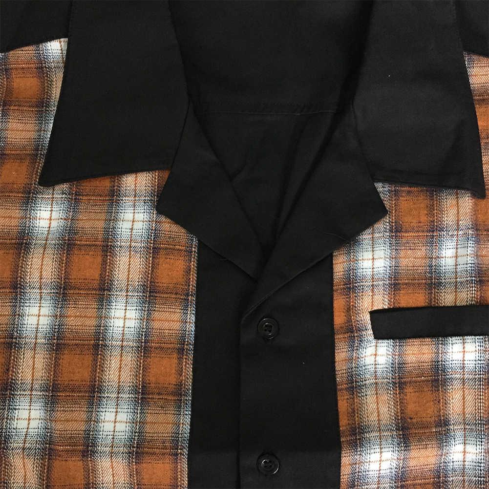 50 s Rockabilly Shirts Mannen Vintage Punk Rave Shirts Korte Mouwen Plaid Gedrukt Rolling Rock Shirt Casual Hip Hop Jurk shirts Mannen