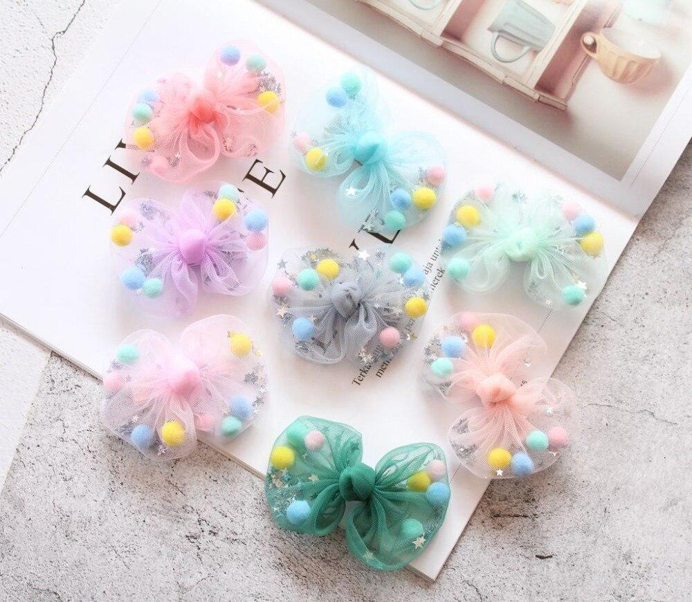 Boutique 24pcs Fashion Cute Pom Pom Ball Glitter Star Bowknot Hairpins Solid Gauze Bow Hair Clips