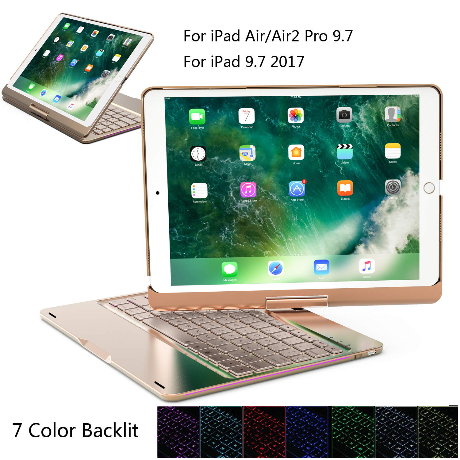 Bluetooth Keyboard for Apple iPad 9.7 Inch 2017 Wireless Keyboard Case for iPad Air 1/2 Pro 9.7 360 Degree Rotate 7color Backlit angibabe 360 degree rotatable bluetooth keyboard leather case for ipad air black