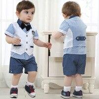 Baby Boy Summer Gentleman Style Fashion Clothing Set Plaid Shirts Vest Coat Shorts 3pcs Kids Boys