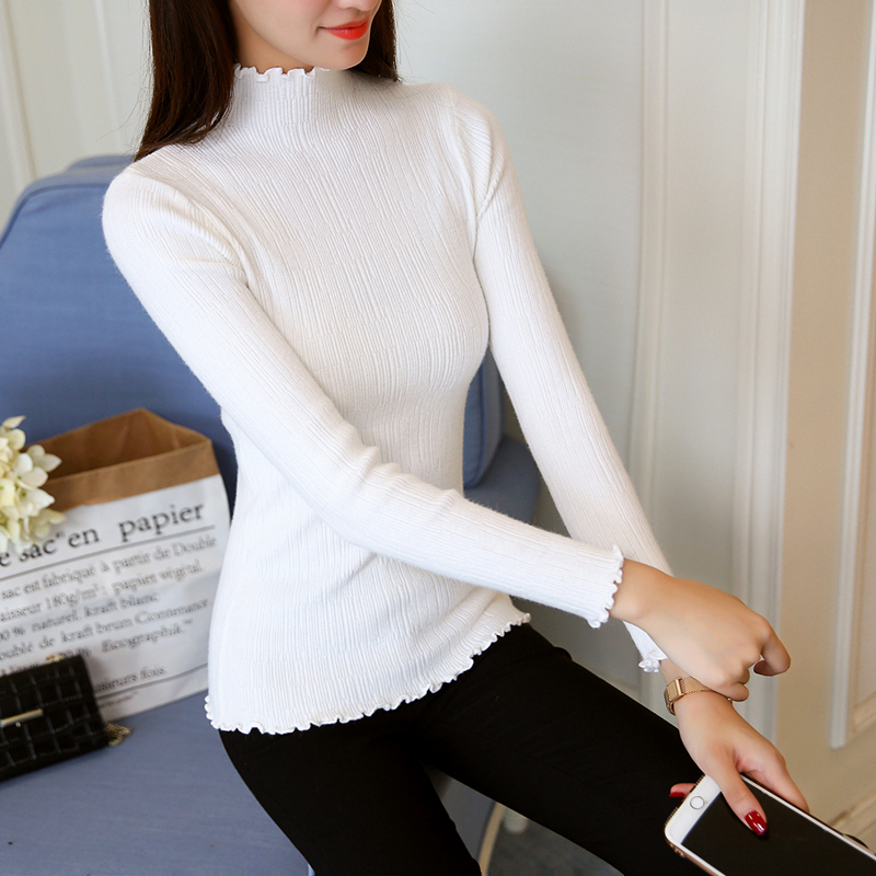 Korean Autumn Winter Knitted Sweaters For Woman Pull Femme Slim Comfortable Turtleneck Long Sleeve Sueter Mujer Chandail