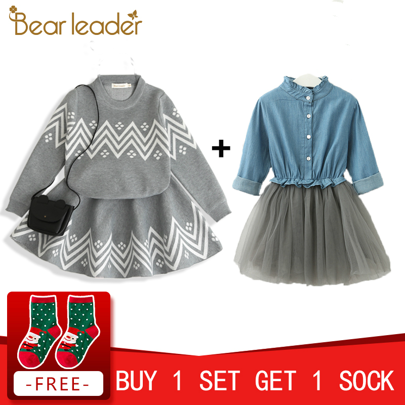 Bear Leader Girls Skirt Sets 2018 New Autumn&Winter Geometric Pattern Long Sleeve Sweater+Skirt 2pcs Knitwear Sets For 3-7 Years geometric spliced print round neck long sleeve sweater