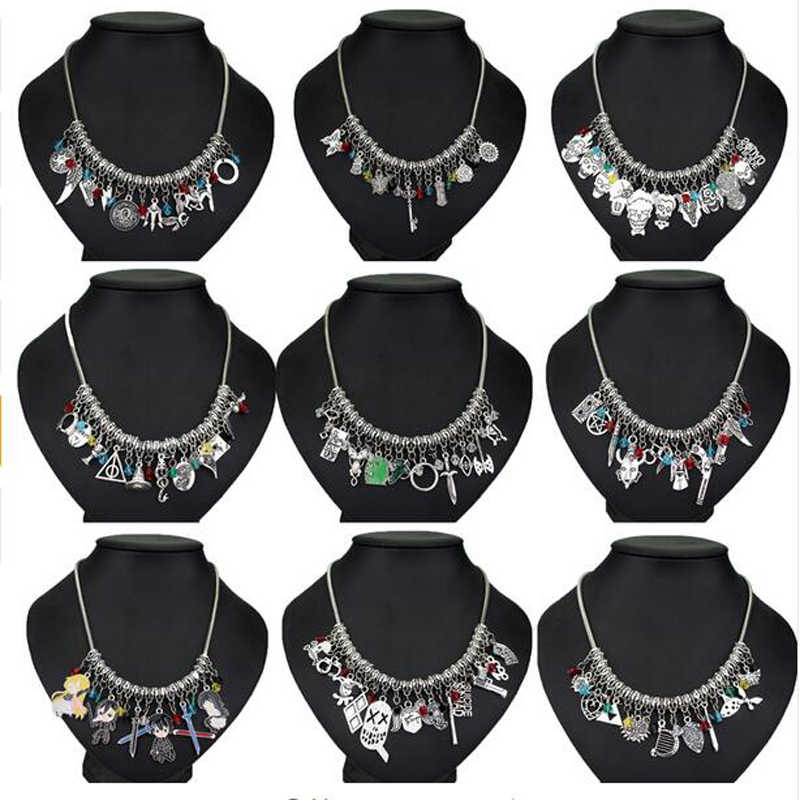 DIY Hand-engineered Choker Necklaces Marvel Avengers Sailor moon STAR WARS Alice In Wonderland Pokemon maxi necklace for Women