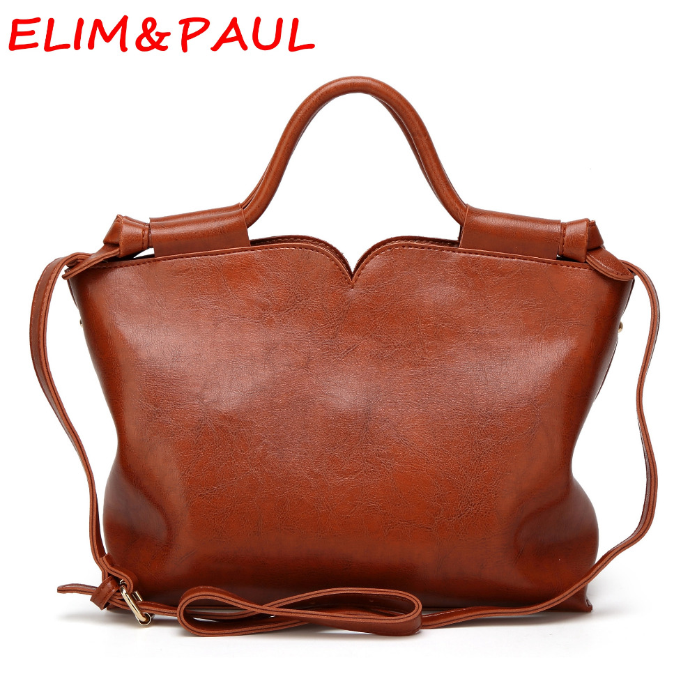 ELIM&PAUL Fashion Casual Tassel Solid Bags Trapeze Woman Hand bags Designers Brand Brown Pink Women Red and Black Handbags elim