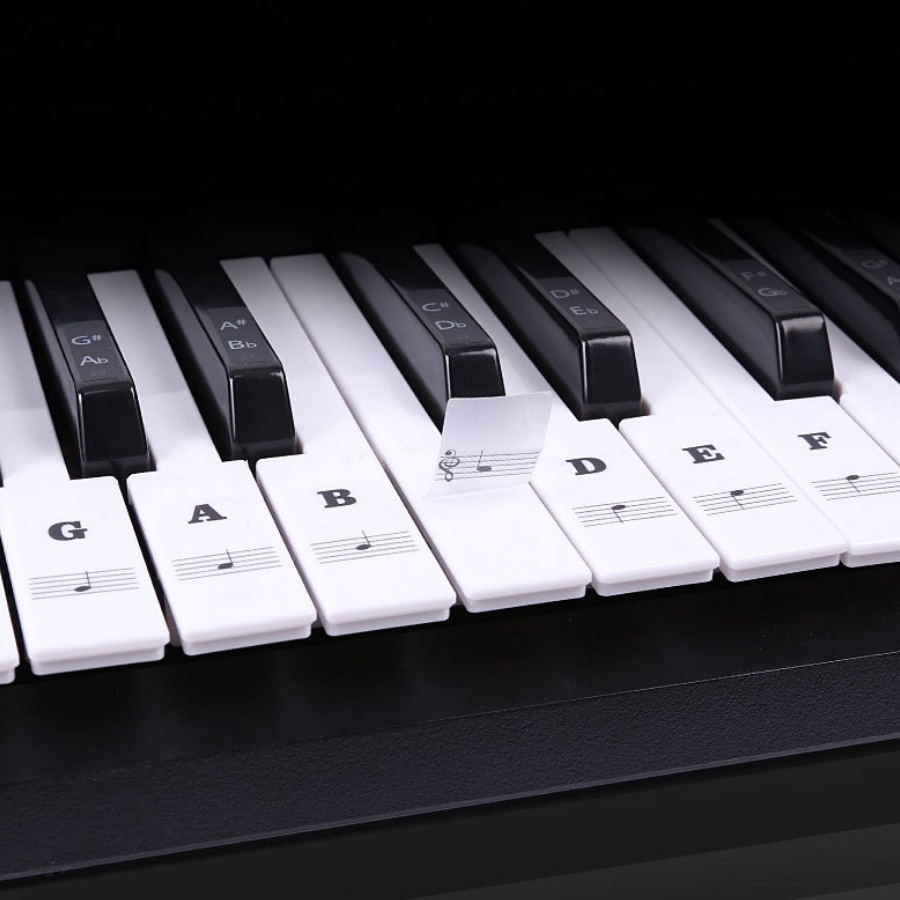 Piano Stickers For Keys Transparent Removable Kids And Beginners Piano Keyboard Stickers Full Set  For 49/61/88 Keyboards