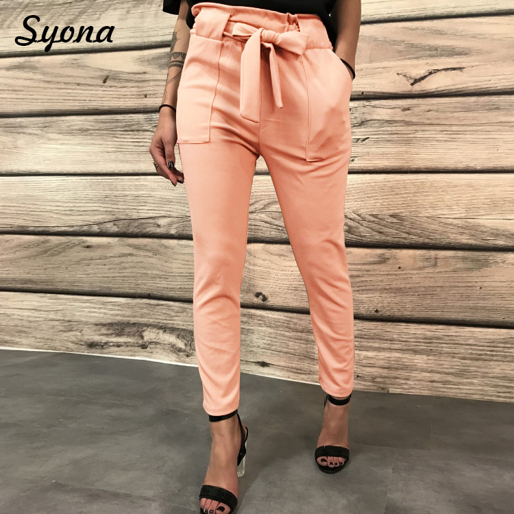 Women Casual Straight   PANTS     Capri   Belt Lace Up Paperbag Trousers High Waist Tie   PANTS   Cropped Summer Office Pantaloons Formal