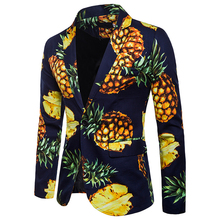 3228f06a Men's Casual One Button Suits Blazer Pineapple Print High Quality Leisure  Men Jackets Blazers Men Coat