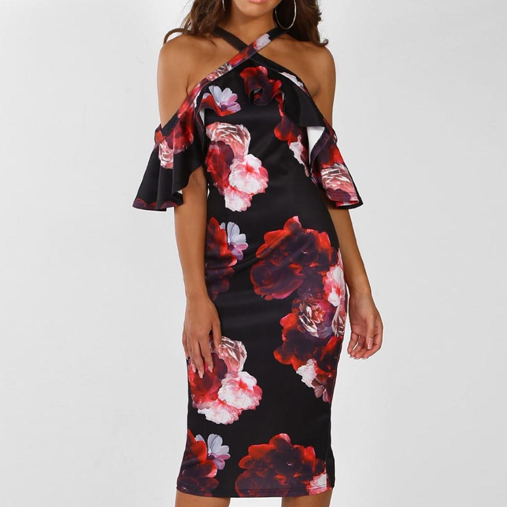 2019 women's summer loose party dress Women Print Cross Off Shoulder Cold Shouder Dress Evening Party Dress Sundress