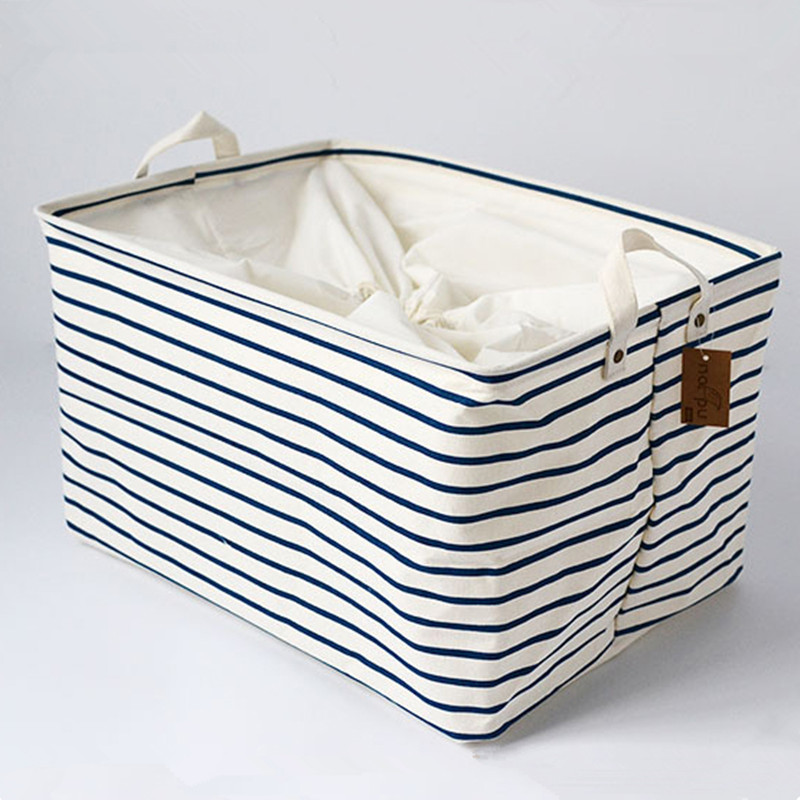 S/M/L Blue Striped Cotton Storage Basket Storage Bags for Kids Toys Dirty Clothes Foldin ...