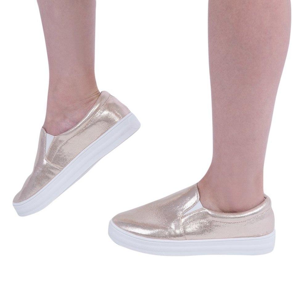 Otoño Primavera Moda Mujeres Zapatos Planos Ocasionales de Cuero Brillante Paten