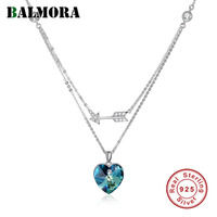 BALMORA 925 Sterling Silver Crystal Heart Pendant Necklaces for Women Lover Romantic Gift Fashion Jewelry 45cm Chain SVN279
