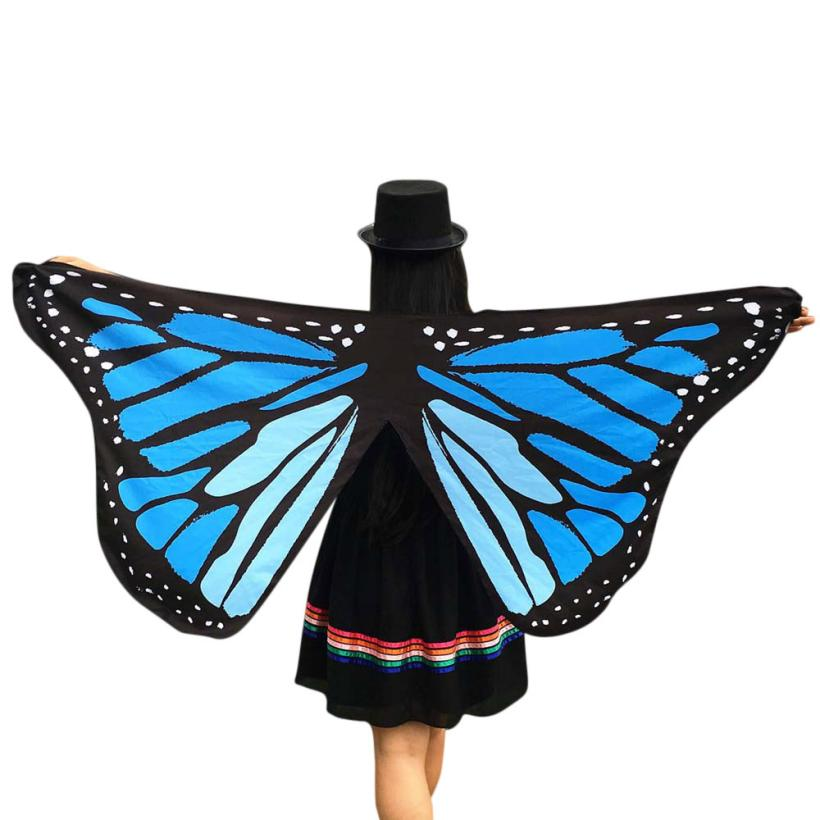 2019 Hot  sale Soft Fabric Butterfly Wings Printed Fairy Women Wings Shawl Loose Kimono Ladies Nymph Pixie Costume Accessory