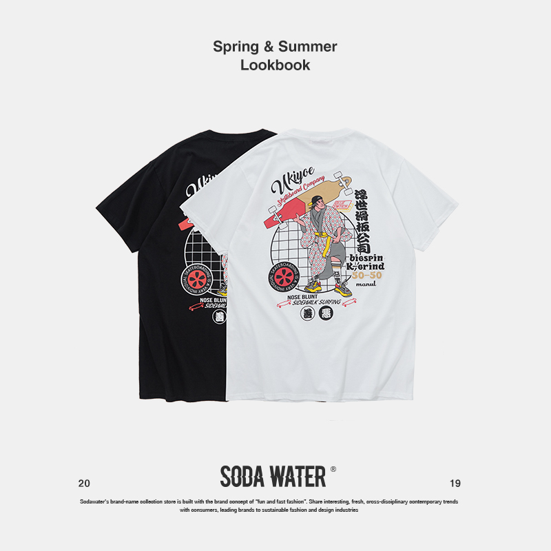 SODA WATER 2019 hommes Homme Harajuku Style japonais drôle à manches courtes t-shirts dessus frais t-shirt d'été Couple 91190 S