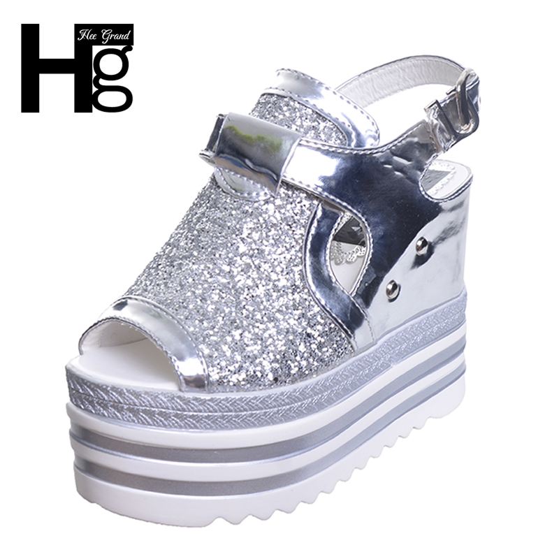 HEE GRAND Wedges Bling Glitter Sandals Silver Women Ankle Casual Woman Shoes Summer Buckle Wedge Shoes XWZ3848 hee grand summer glitter gladiator sandals 2017 casual wedges bling platform shoes woman sexy high heels beach creepers xwx5813