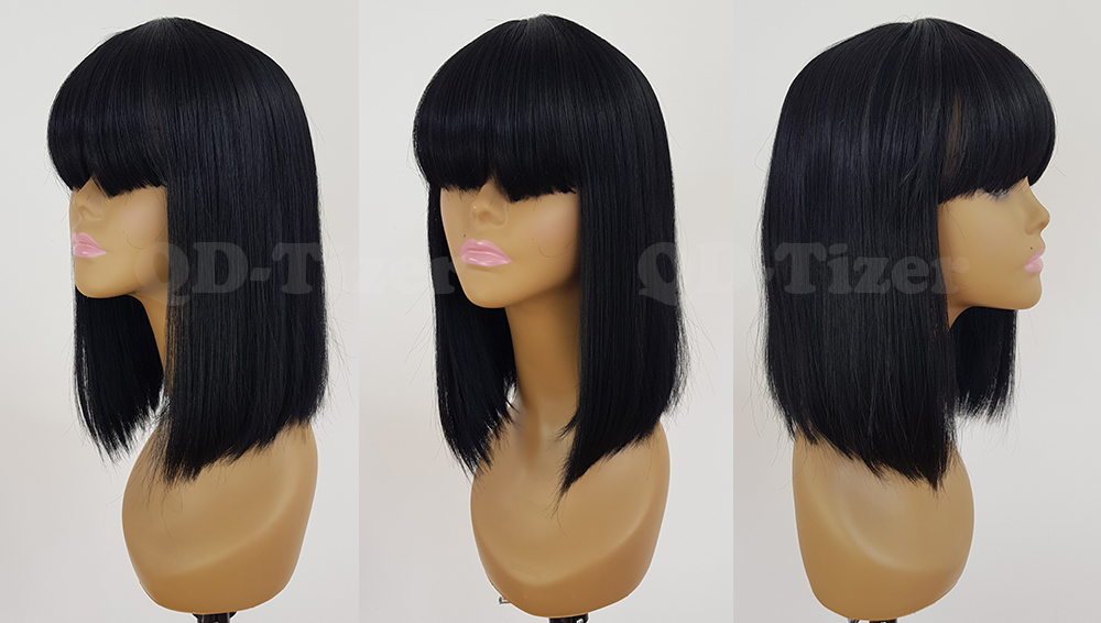 Qd-tizer pelucas cortas de encaje de pelo de Bob pelucas sintéticas de  Color negro con Bnags sin Peluca de encaje pelo superior de seda para  mujeres 4b47d976b952
