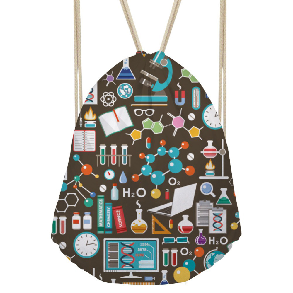 Women s Drawstring Bag Small Science Formula Printing Backpack Girls String Package for Kids Cute Beach