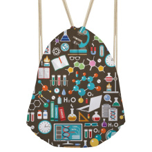 Women's Drawstring Bag Small Science Formula Printing Backpack Girls String Package for Kids Cute Beach String Bags