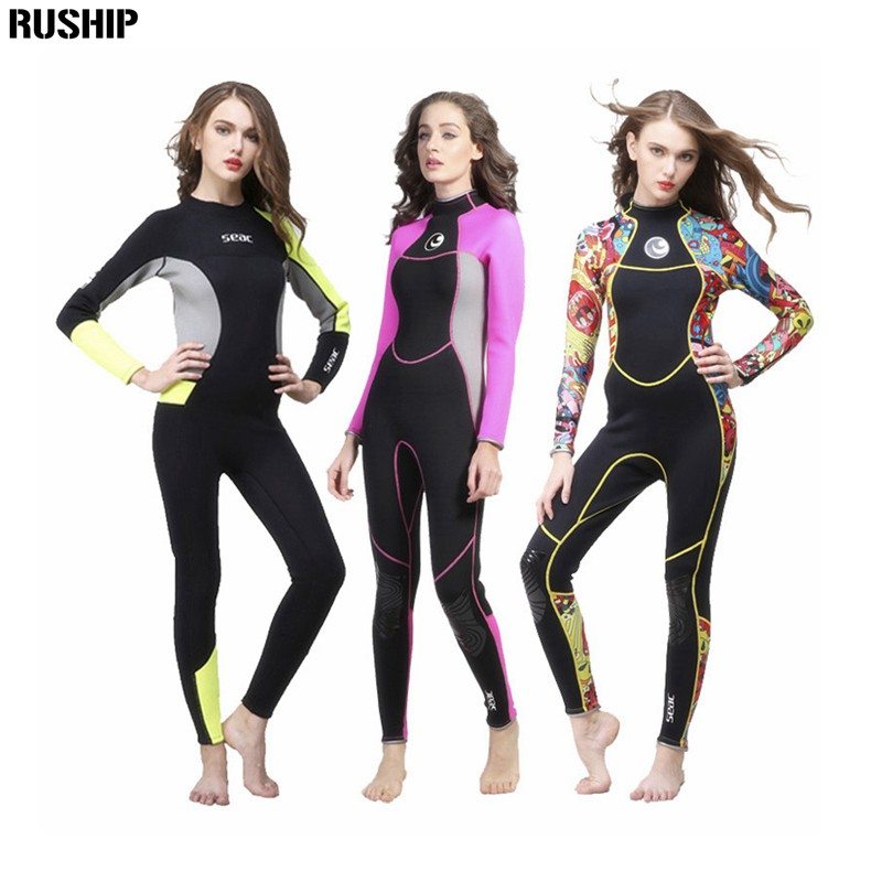 Фотография SEAC Women 3mm Neoprene High quality Wetsuit Thermal Scuba Diving Spearfishing One piece Wetsuits Surfing Slim Full Bodysuit