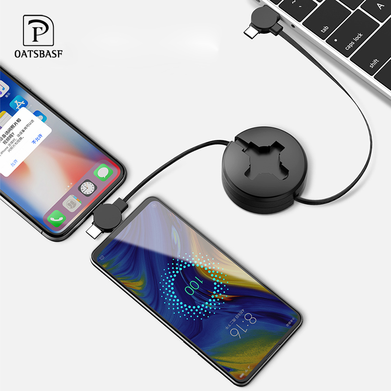 Oatsbasf PD 3 IN 1 USB Cable For iPhone XS Max XR fast Charger Type C cable for one plus 6 5T 6T Xiaomi Mi Mix 2 2S micro Cable|Mobile Phone Cables| |  - title=