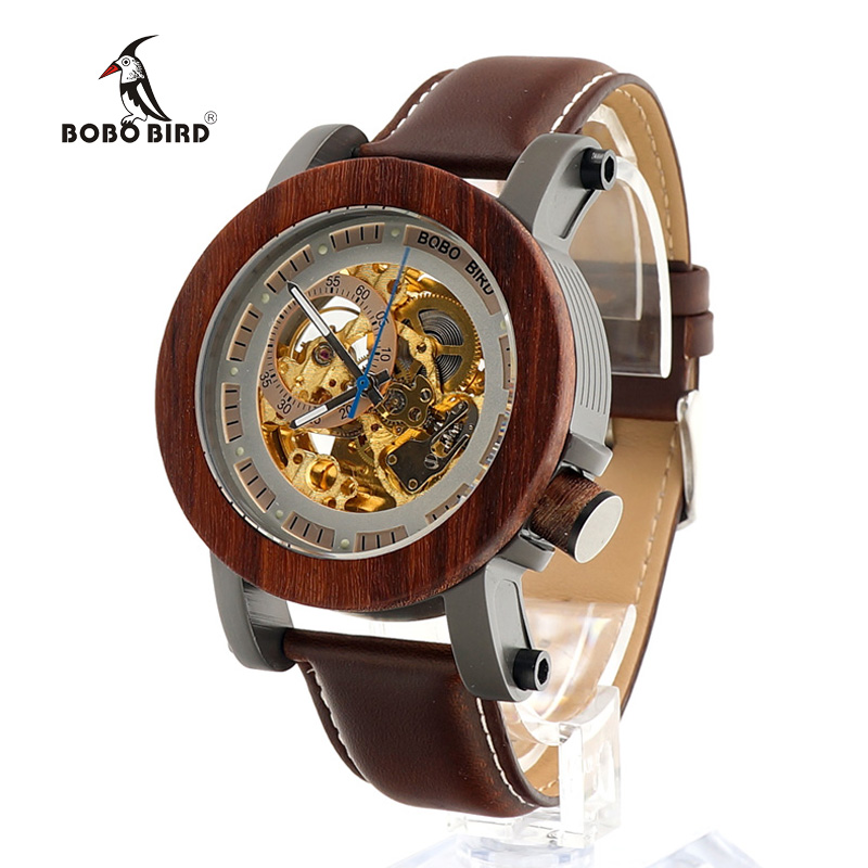 BOBO PÁSSARO Relógios Mecânicos dos homens de Luxo Da Marca Genuína Pulseira de Couro Relógio de Pulso relogio masculino Relógio De Madeira BoxesC-K12